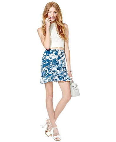 Allover Rose Print Mini Skirt_4606