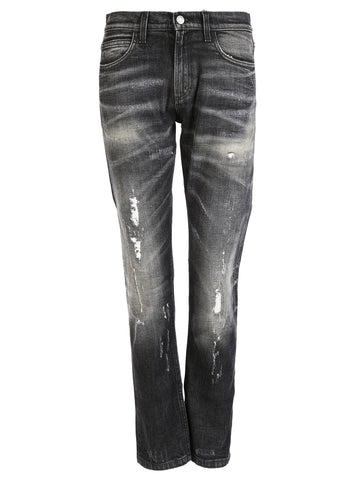 Gucci Stone Washed Stretch Ripped Jeans - Black