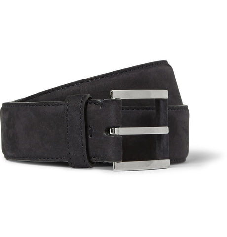 3.5cm Navy Nubuck Belt Blue