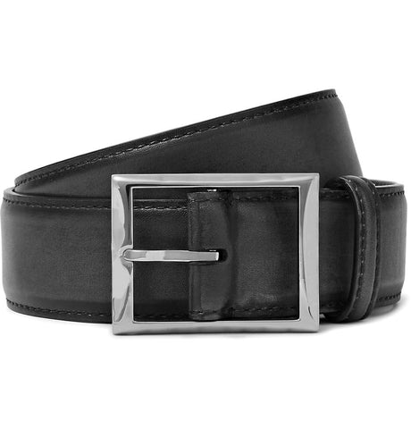 3.5cm Black Leather Belt Black_3993