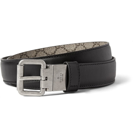 3cm Black and Grey Reversible Leather Belt Black