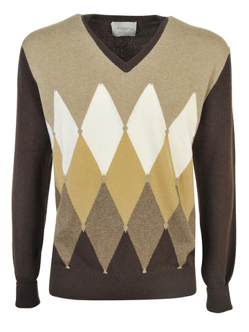 Ballantyne Cashmere V Neck Sweater - Brown
