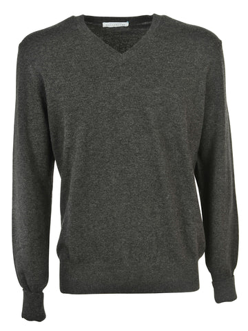 Ballantyne V Neck Sweater - Charcoal