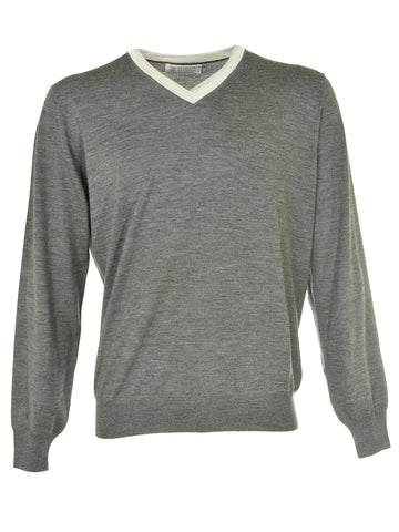 Brunello Cucinelli V-Neck Sweater - Dark Grey
