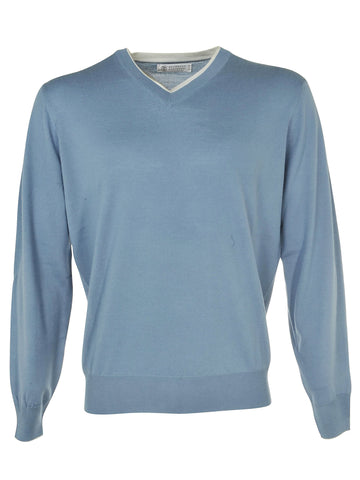 Brunello Cucinelli V-Neck Sweater - Bluegreen