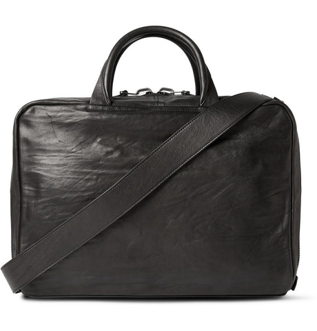 Arturo Washed-Leather Briefcase Black