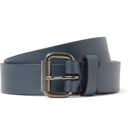 2.5cm Navy Leather Belt Blue