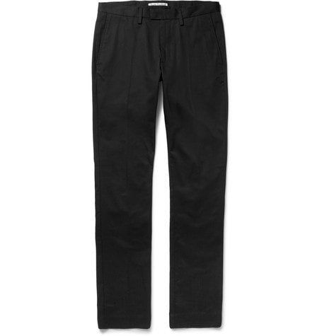 Acne Studios - Max Satin Slim-fit Cotton-blend Twill Trousers - Black