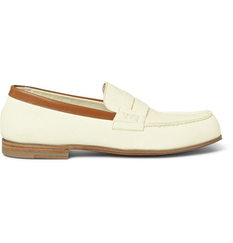 281 Le Moc Textured-Leather Loafers White