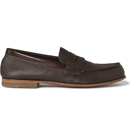 281 Le Moc Grained-Leather Loafers Brown