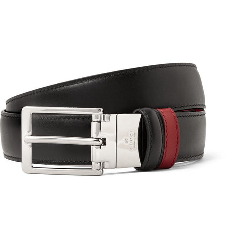 3cm Black and Red Reversible Leather Belt Black
