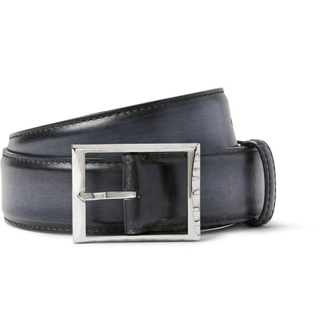 3.5cm Black Polished-Leather Belt Black