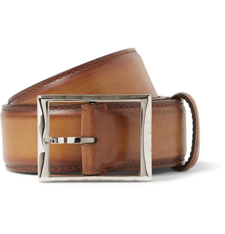 3.5cm Brown Polished-Leather Belt Brown_3985