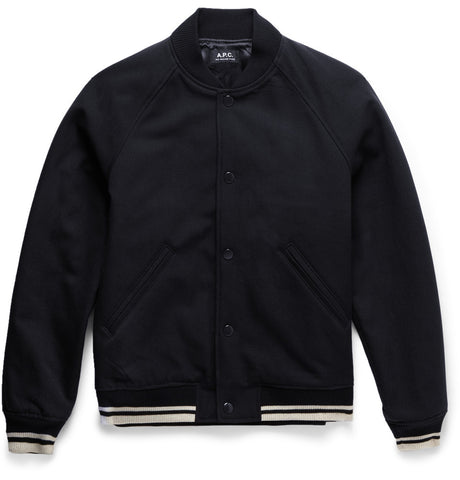 Cotton and Wool-Blend Varsity Jacket Blue