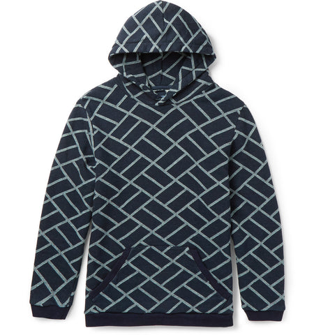 Geometric-Patterned Cotton-Jacquard Hoodie Blue