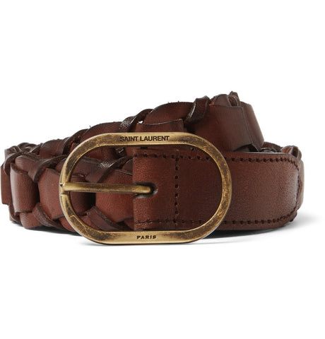 2.5cm Brown Braided Leather Belt Brown_3986