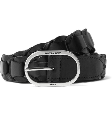 2.5cm Black Braided Leather Belt Black_3987