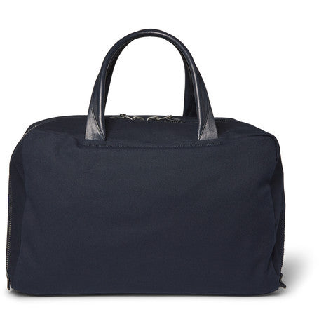 Álvaro - Leather-trimmed Canvas Holdall - Navy