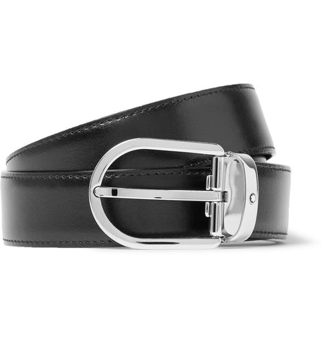 3cm Black Leather Belt Black_4019