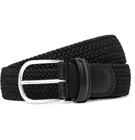 3.5cm Black Leather-Trimmed Woven Elasticated Belt Black