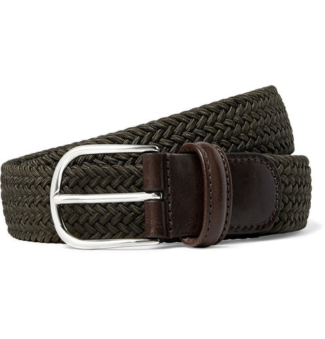 3.5cm Dark-Green Leather-Trimmed Woven Elasticated Belt Green