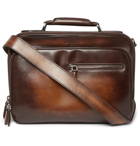 Berluti - Gloria Polished-leather Briefcase - Brown