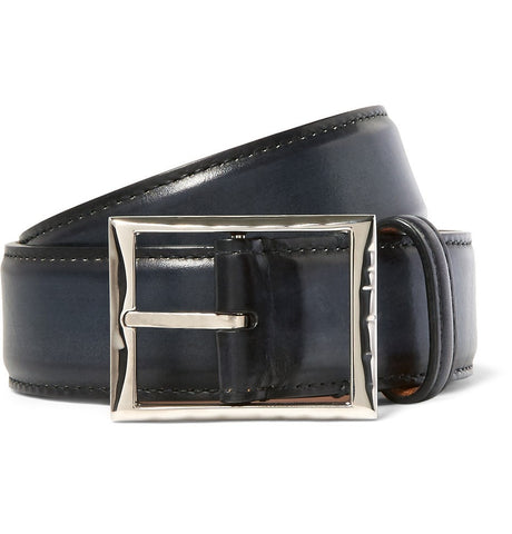 3.5cm Blue Polished-Leather Belt Blue