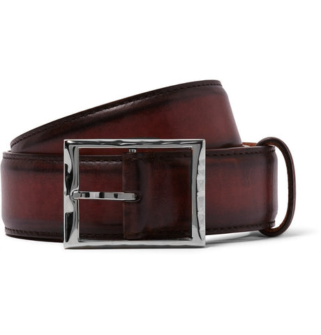 3.5cm Burgundy Polished-Leather Belt Burgundy