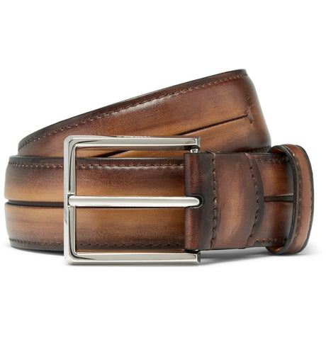 3.5cm Brown Polished-Leather Belt Brown_4037