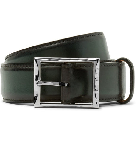 3.5cm Green Polished-Leather Belt Green