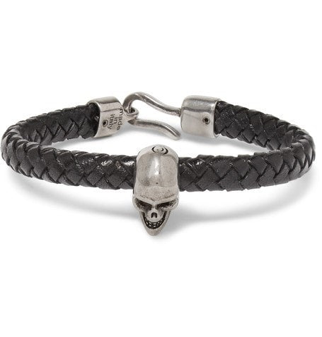 Alexander McQueen - Braided Leather And Burnished Silver-tone Skull Bracelet - Black