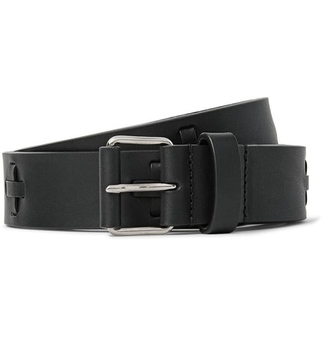 3cm Black Embellished Leather Belt Black_4030