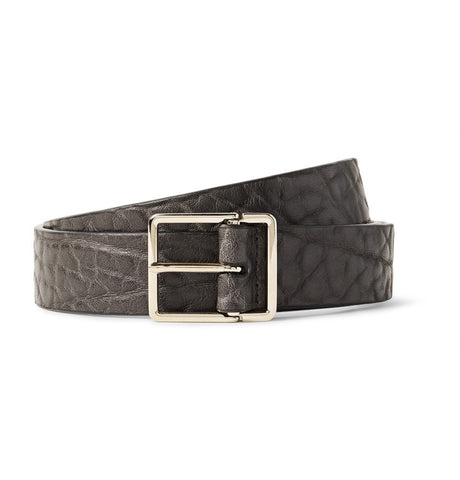 2.5cm Grey Grained-Leather Belt Gray