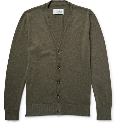 aison argiela - Leather Elbow-patch Cotton And Wool-blend Cardigan - ushroo