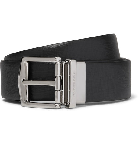 3.5cm Black Cross-Grain Leather Belt Black