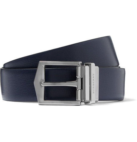 3.5cm Navy Leather Belt Blue