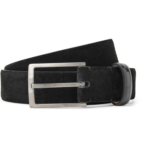3cm Black Suede and Patent-Leather Belt Black