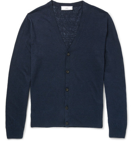 AMI - Linen And Cotton-blend Cardigan - Navy