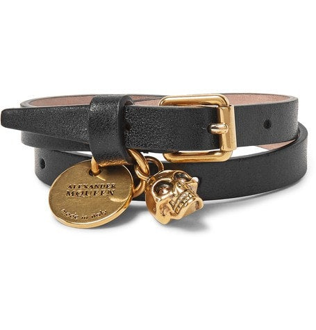 Alexander McQueen - Leather And Burnished Gold-tone Skull Wrap Bracelet - Black