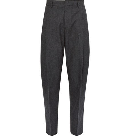 Acne Studios - Piano Tapered Pleated Worsted-wool Trousers - Charcoal