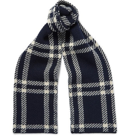 A.P.C. - Saaen Checked Wool Scarf - Navy