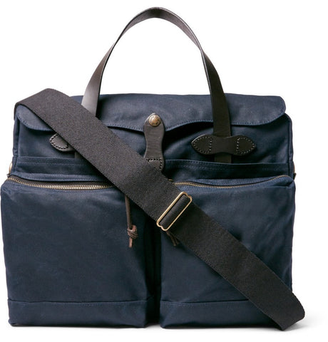 24-Hour Leather-Trimmed Coated-Canvas Briefcase Blue