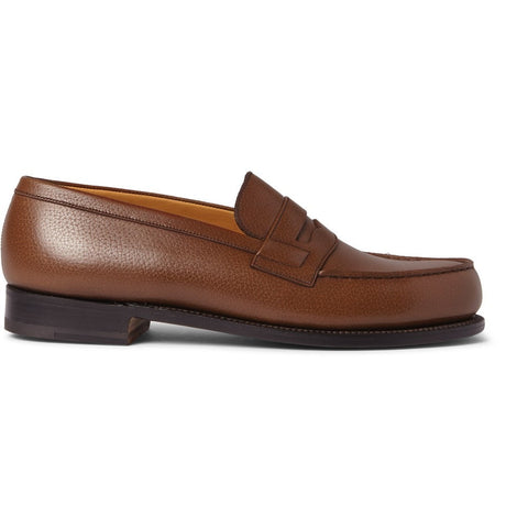 180 The Moccasin Grained-Leather Loafers Brown