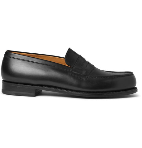 180 The Moccasin Leather Loafers Black_4388