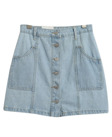 A-line Denim Mini Skirt with Pockets_6906