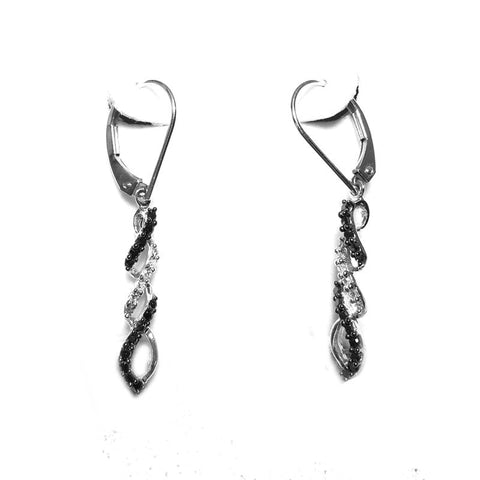 """10K White Gold and Black Diamond Earrings"" - SprintShopping"