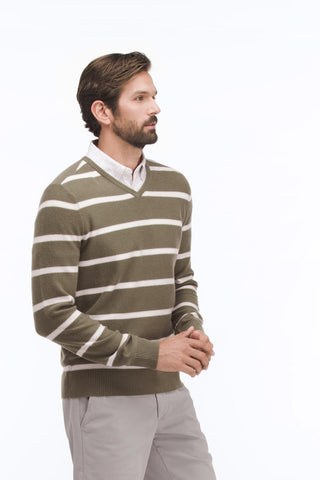 AG Jeans The Helios V Neck Sweater - Military Moss M Sweaters