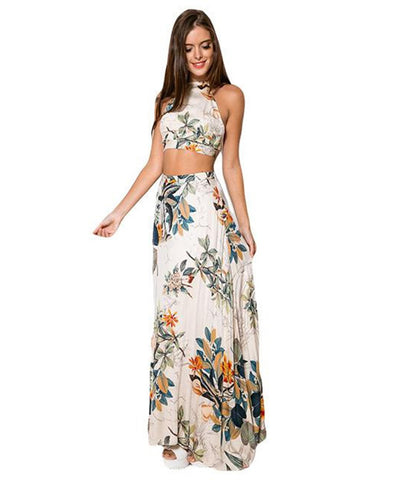 Boho Printed Two Pieces with Halter Crop Top and Maxi Skirt