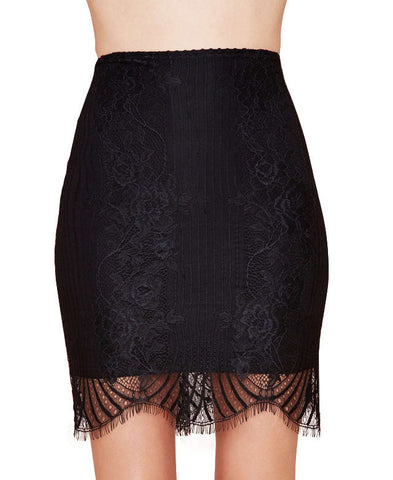 Black Fan-shaped Lace Skirt_4873