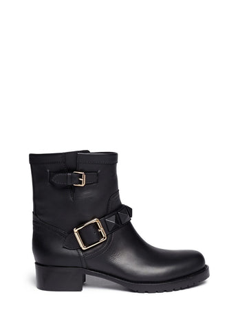 'Rockstud' buckle strap leather ankle boots